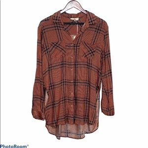 Houndstooth Plaid Button Down Tunic  Small